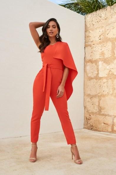 LAVISH ALICE one shoulder cape jumpsuit in hot coral – vibrant jumpsuits - flipped