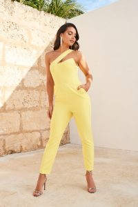 LAVISH ALICE one shoulder peak bustier jumpsuit in yellow – asymmetric jumpsuits