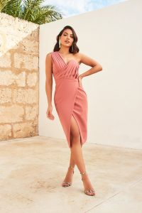 LAVISH ALICE one shoulder pleated midi dress in dusty rose