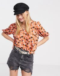 Only blouse with puff sleeves in orange floral