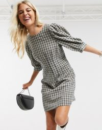 Only mini dress with puff sleeves in check