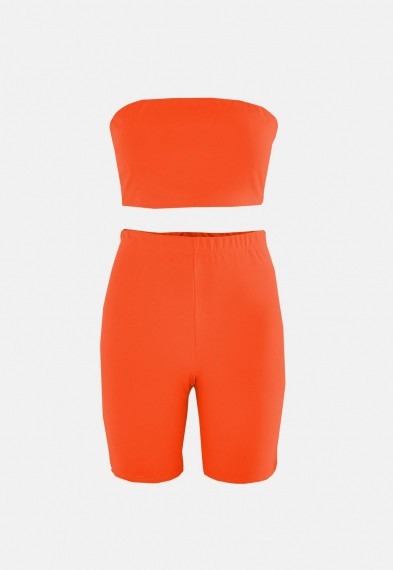 MISSGUIDED orange bandeau top and cycling shorts co ord set