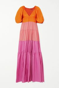 Olivia Wilde orange and pink long dress, STAUD Meadow tiered color-block crepe maxi dress, out in Los Angeles, 31 May 2020 | celebrity street style