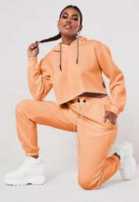 Orange missguided joggers – logo print jogging bottoms