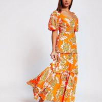 RIVER ISLAND Orange short sleeve paisley print midi dress