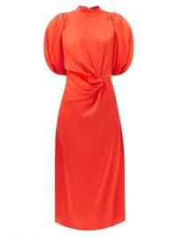 JOHANNA ORTIZ Organic Construction gathered silk dress ~ red cut-out dresses