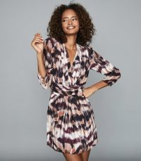 REISS ORLA IKAT PRINTED MINI DRESS BERRY ~ wrap front dresses