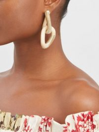OSCAR DE LA RENTA linked hoop earrings / double link drops