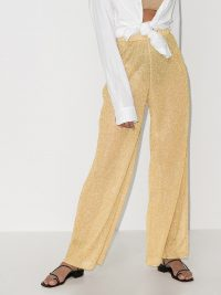Oséree Lumière metallic wide leg trousers ~ sheer gold pants