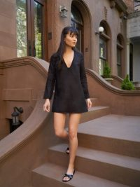Reformation Ostuni Dress Black | long sleeve mini | LBD