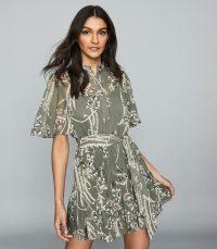 Reiss OTTY FLORAL PRINTED MINI DRESS KHAKI ~ tie waist floaty dresses