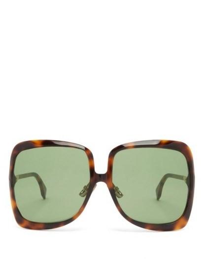 FENDI Oversized tortoiseshell sunglasses ~ large sunnies - flipped