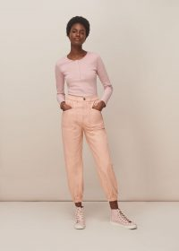 WHISTLES x LF MARKEY ARTHUR TROUSER PALE PINK ~ cuffed cargo trousers