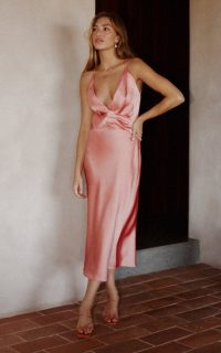 Significant Other Palma Satin Midi Dress ~ pink plunging slip dresses