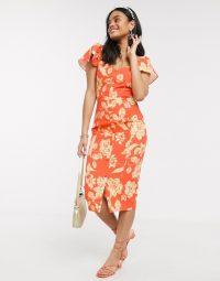 Paper Dolls flutter sleeve wiggle dress in orange floral