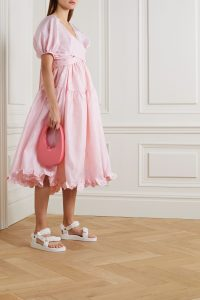CECILIE BAHNSEN Ammi open-back tiered ruffled cloqué midi dress | pink voluminous summer dresses