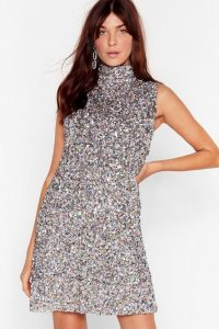 NASTY GAL Pastel The Beat Goes on Dress / glittering high neck dresses