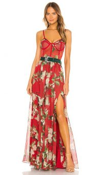 PatBO Floral Bustier Belted Maxi Dress Cherry ~ floaty skinny strap dresses