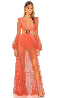 PatBO Long Sleeve Mesh Beach Dress Neon Coral / floaty maxi / semi sheer cut out dresses