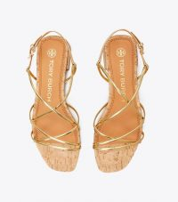 TORY BURCH PENELOPE METALLIC FLAT SANDAL Gold/Natural / strappy gold flats