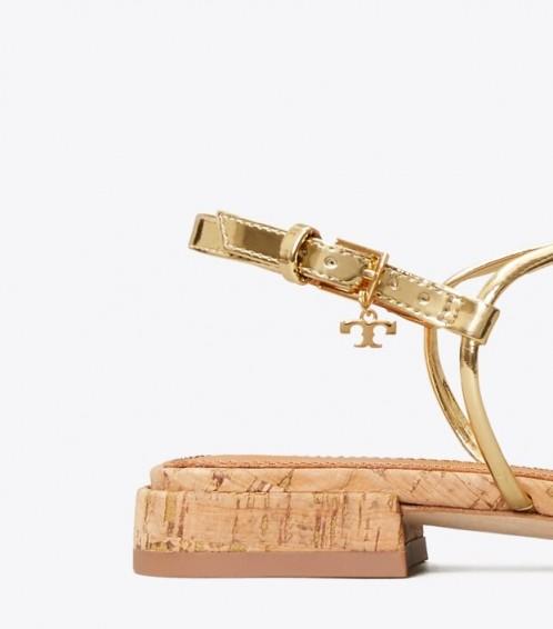 TORY BURCH PENELOPE METALLIC FLAT SANDAL Gold/Natural
