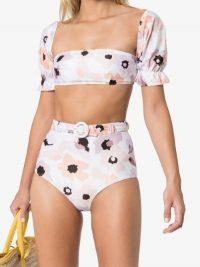 Peony Floral Print Pouf Sleeve Bikini Top ~ feminine bikinis