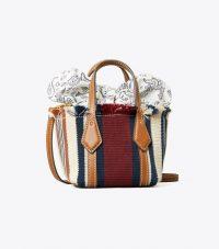 TORY BURCH PERRY WEBBING NANO TOTE / mini handbags / paisley fabric interior