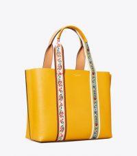 TORY BURCH PERRY WEBBING TRIPLE-COMPARTMENT TOTE Dark Solarium / yellow flower embroidered handbag