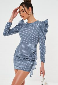 MISSGUIDED petite blue polka dot mini dress / frill detail dresses