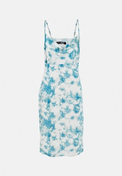 MISSGUIDED petite blue tie dye cowl cami slip dress / draped neck slip dress - flipped