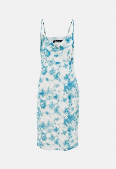 MISSGUIDED petite blue tie dye cowl cami slip dress / draped neck slip dress