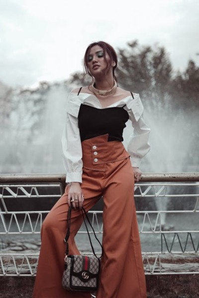 Black and White Top and Brown Trousers