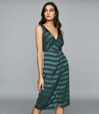 Reiss PIA STRIPED WRAP-FRONT DRESS GREEN ~ strappy back evening dresses