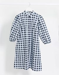 Pieces smock shirt dress in blue check