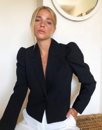 Pimkie cropped blazer with puff sleeves in black