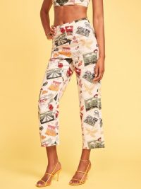 Reformation Pinegrove Pant Vacaciones / printed crop leg trousers