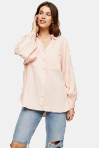 TOPSHOP Pink Cotton Casual Shirt – casuals – curved hem shirts –