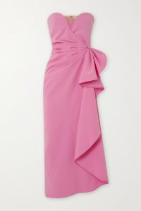 THE ATTICO Gathered stretch-wool midi dress | pink strapless event dresses
