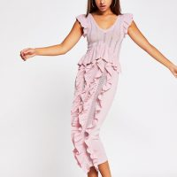 River Island Pink Knitted Frill Dress | feminine knits