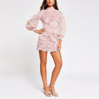 RIVER ISLAND Pink lace cut out mini dress – open back evening dresses