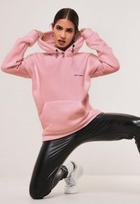 MISSGUIDED pink oversized night addict hoodie / slogan hoodies