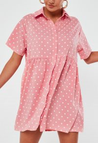 MISSGUIDED pink polka dot shirt smock dress