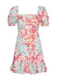 MISS SELFRIDGE Pink Poplin Watercolour Mini Dress – puff sleeve dresses