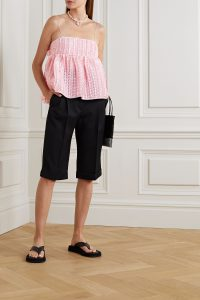 CECILIE BAHNSEN Selena open-back fil coupé chiffon top | pink spaghetti strap tops | fashion with volume