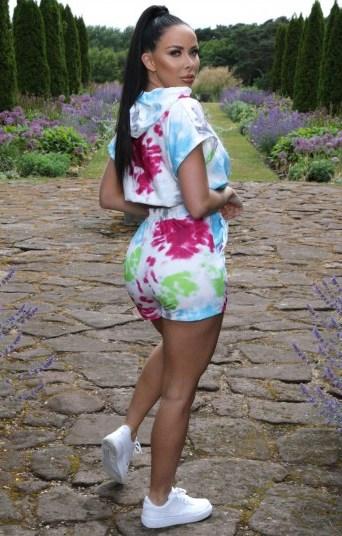 FEMME LUXE Pink Tie Dye Cropped Hoodie Co-ord – Bella / shorts & hoody sets - flipped