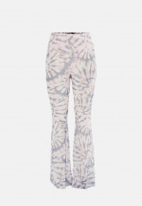 MISSGUIDED pink tie dye flare mesh trousers – retro pants