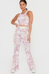 IN THE STYLE PINK TIE DYE HIGH WAISTED FLARE TROUSERS