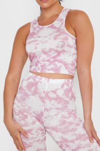 IN THE STYLE PINK TIE DYE RACER BACK CROP TOP