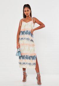 MISSGUIDED pink tie dye satin midi dress – tie strap slip dresses