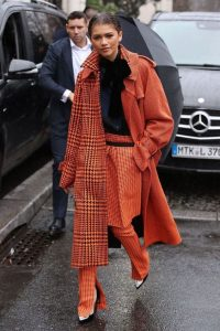 Zendaya's orange multi check outfit